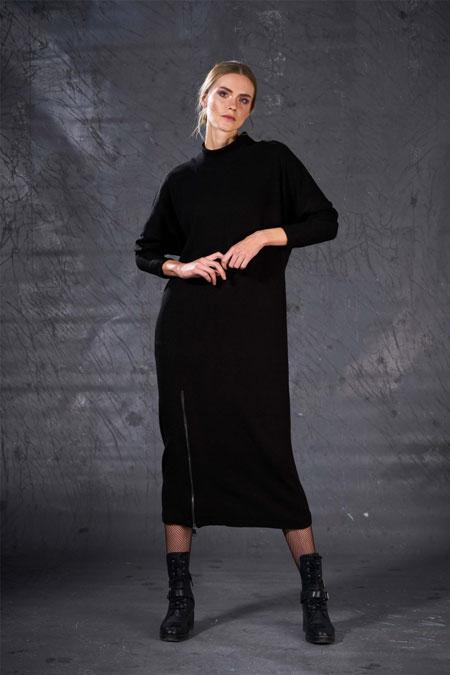 Eda Atalay Siyah Fermuar Detaylı Triko Elbise