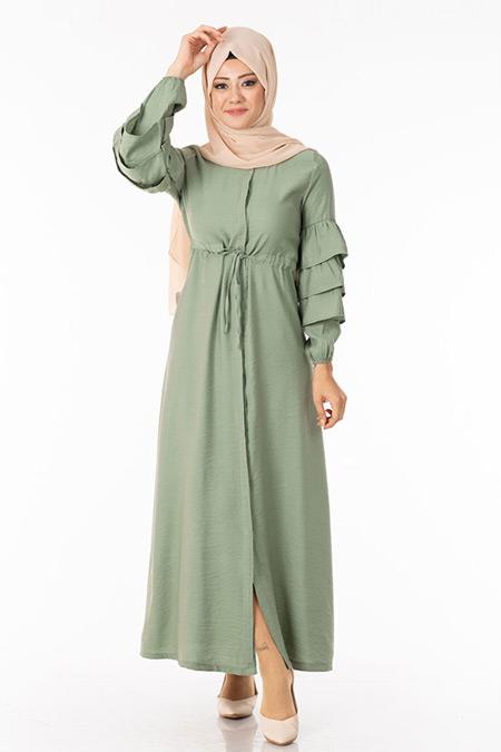 Haki Düğmeli Kolu Fırfırlı Elbise