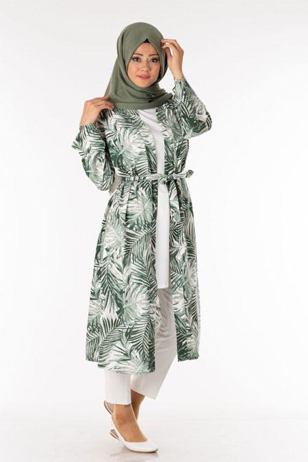 Haki Palmiye Desen Tesettür Kimono