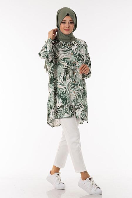 Haki Palmiye Desen Tunik