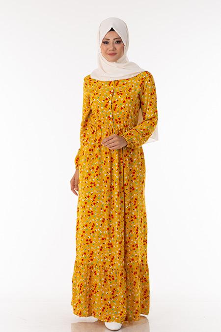 Hardal Çiçek Desen Elbise