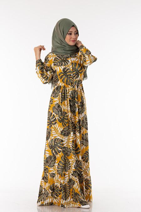 Hardal Palmiye Desen Elbise
