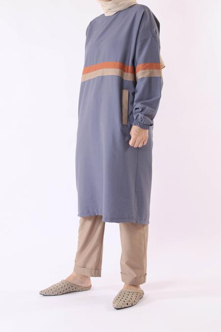 He-Qa Mavi Şeritli Tunik