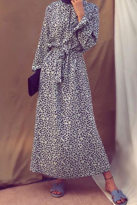 Just Hijab Collection Karışık Renkli Minimal Çiçekli Elbise