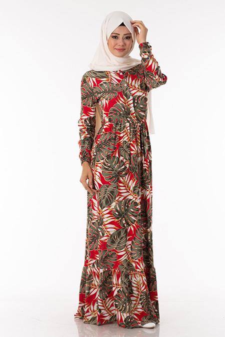 Kırmızı Palmiye Desen Elbise