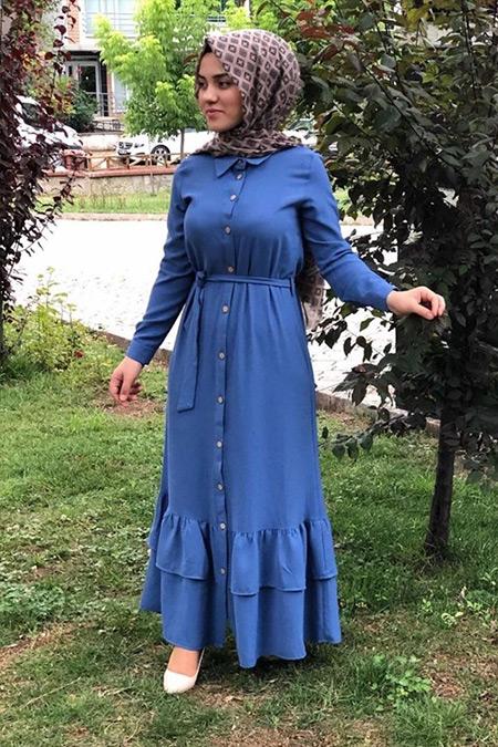 Modacho İndigo Düğmeli Giy Çık Elbise