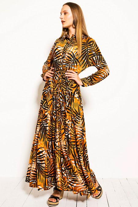 Muni Muni Turuncu Floral Sedef Düğmeli Elbise
