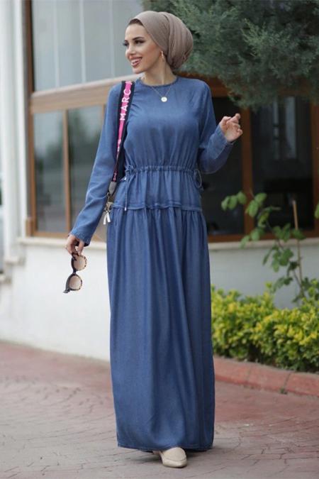 Neways Mavi Uzun Elbise