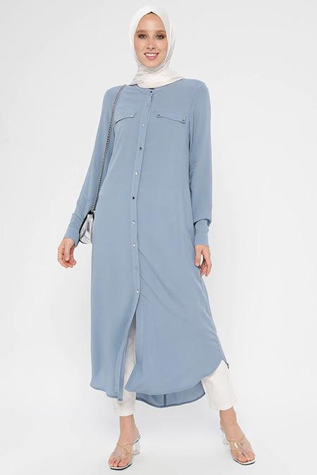 Nihan Açık Mavi Cepli Elbise Tunik