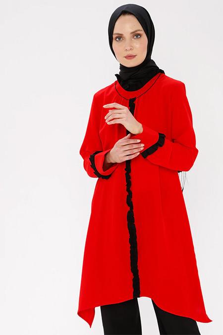 Nihan Kırmızı Fırfır Detaylı Tunik