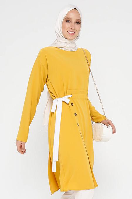 Nihan Sarı Yandan Kuşaklı Düğmeli Tunik