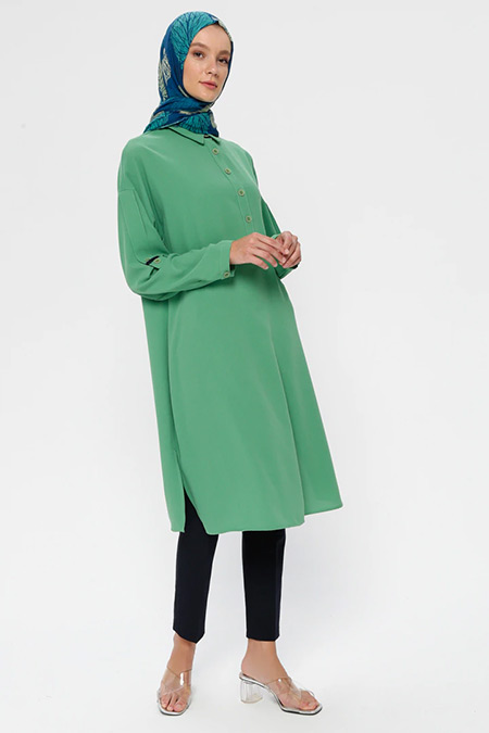 Nihan Yeşil Gömlek Yaka Tunik