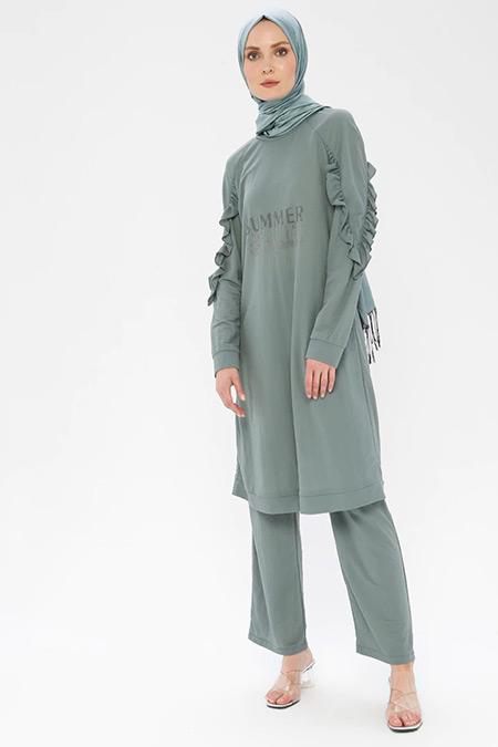 Nihan Yeşil Tunik&Pantolon İkili Takım