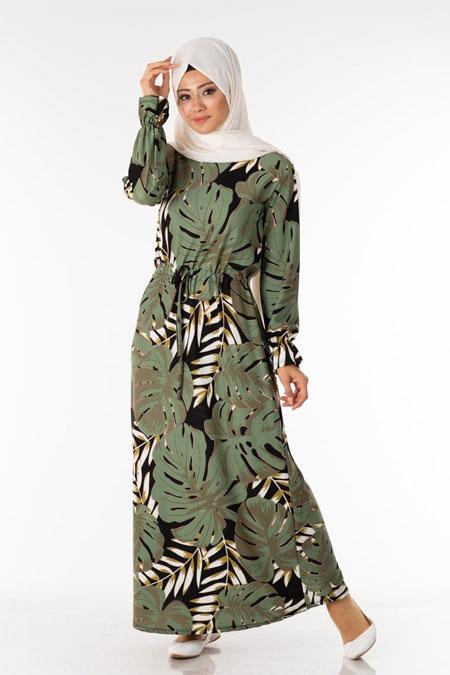 Palmiye Desen Tesettür Elbise