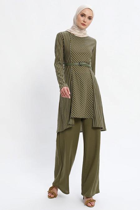 Puane Haki Tunik&Pantolon İkili Takım