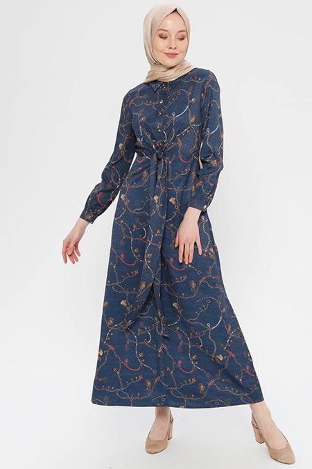 Puane Lacivert Desenli Elbise