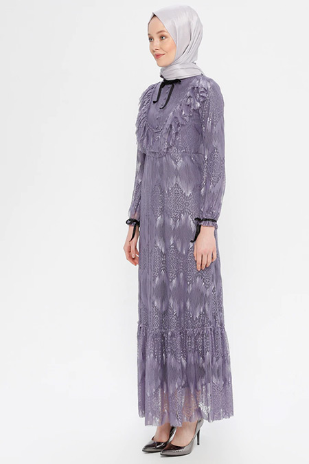 Puane Lila Dantelli Elbise