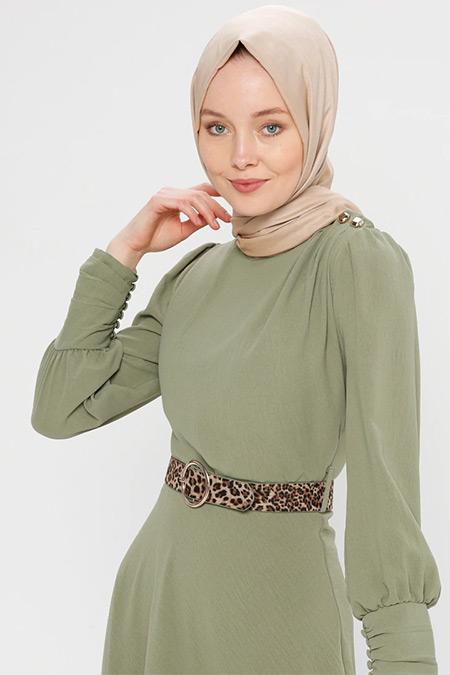 Puane Yeşil Kemerli Elbise