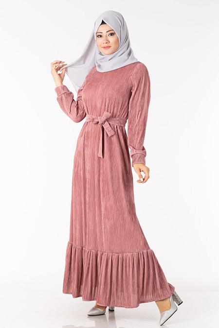 Pudra Simli Astarlı Elbise