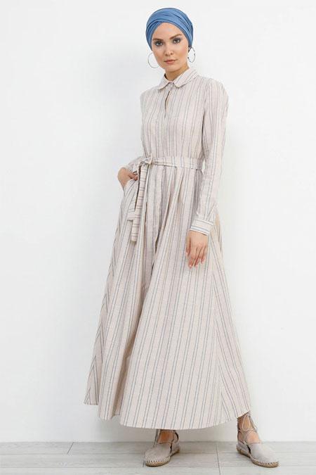 Refka Bej Boydan Gizli Düğmeli Çizgili Elbise