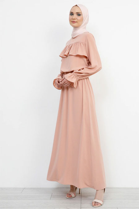 Refka Koyu Pudra Volan Detaylı Elbise