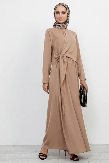 Refka Koyu Vizon Beli Bağlama Detaylı Elbise