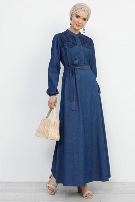 Refka Lacivert Doğal Kumaşlı Nakış Detaylı Kot Elbise