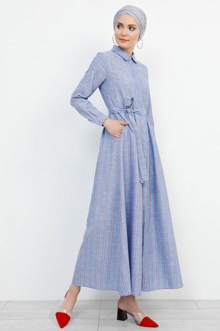 Refka Mavi Boydan Gizli Düğmeli Çizgili Elbise