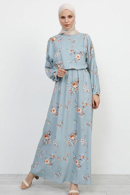 Refka Mavi Çiçek Desenli Elbise