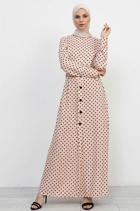 Refka Pudra Doğal Kumaşlı Puantiyeli Elbise