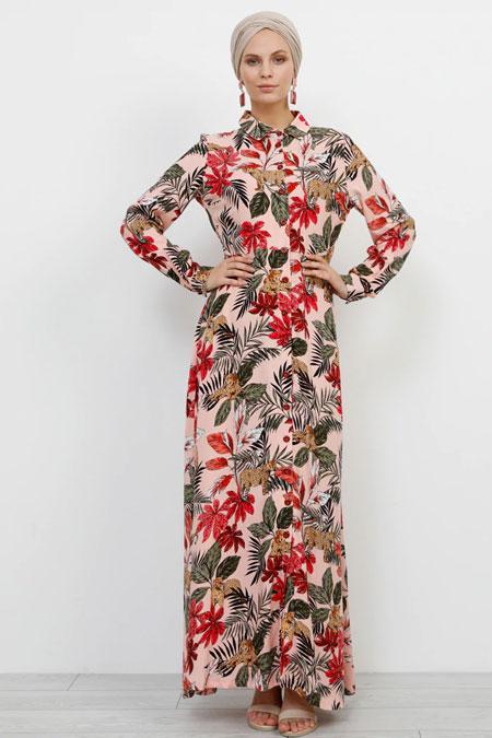 Refka Pudra Doğal Kumaşlı Tropikal Desenli Elbise