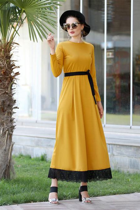 Selma Sarı Design Hardal Eteği Dantelli Elbise