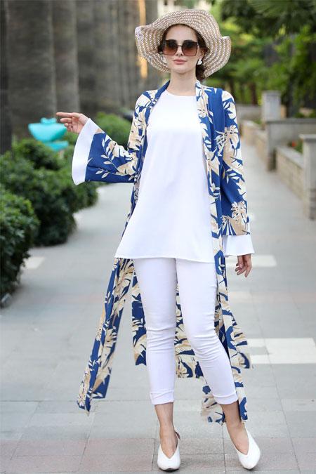 Selma Sarı Design Mavi Taş Rengi Uzun Kimono Ceket