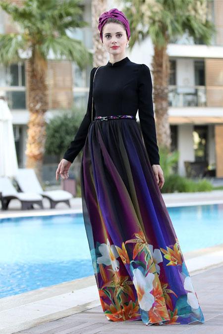 Selma Sarı Design Siyah Çiçek Desenli Gökkuşağı Elbise