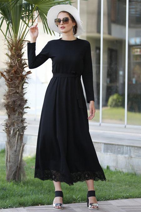 Selma Sarı Design Siyah Eteği Dantelli Elbise
