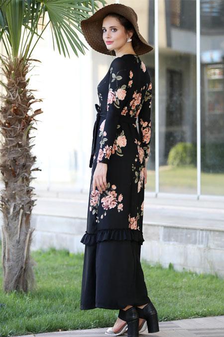 Selma Sarı Design Siyah Somon Eteği Fırfırlı Rahat Elbise
