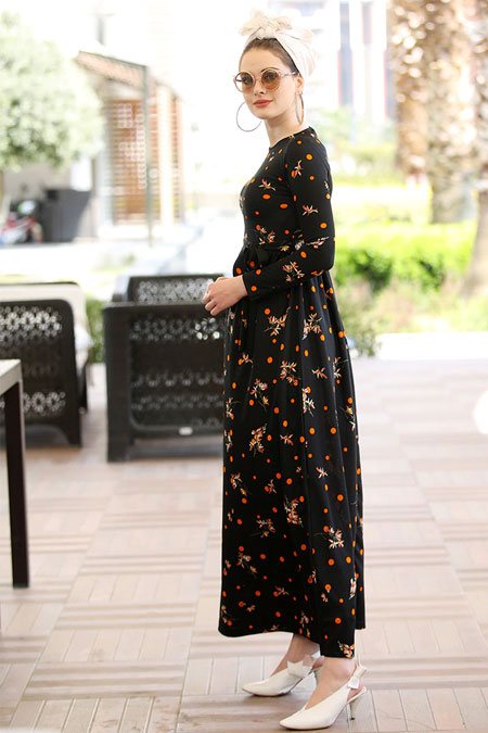 Selma Sarı Design Siyah Turuncu Gonca Elbise