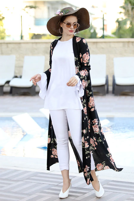 Selma Sarı Design Somon Siyah Uzun Kimono Ceket