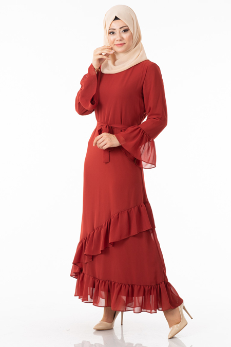 Şifonlu Fırfırlı Tarçın Tesettür Elbise