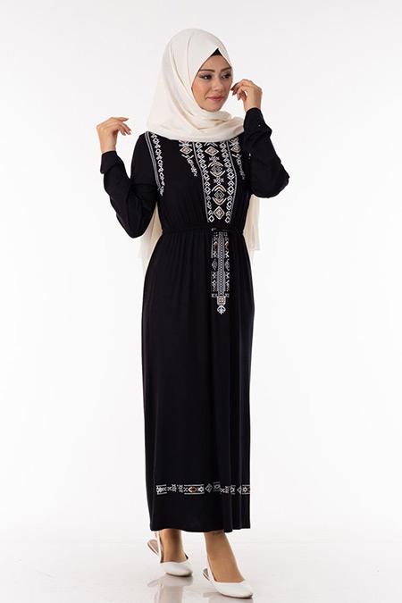 Siyah Kilim Desen Elbise