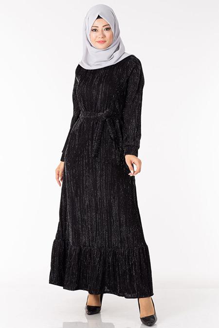Siyah Simli Astarlı Elbise