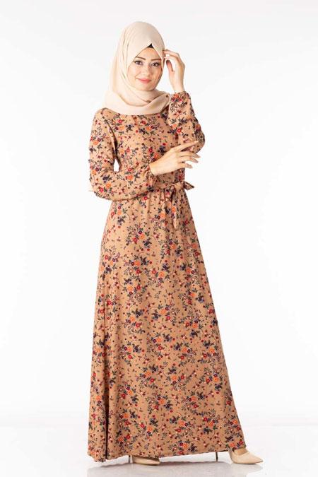 Somon Çiçek Desen Tesettür Elbise