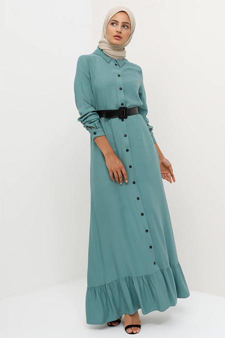Tavin Çağla Doğal Kumaşlı Boydan Düğmeli Kemerli Elbise