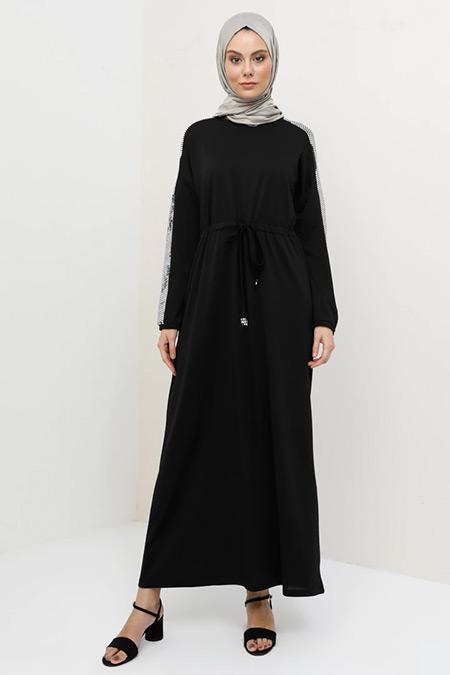 Tavin Siyah Beli Bağlamalı Elbise