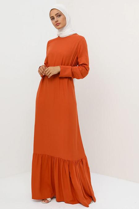 Tavin Turuncu Doğal Kumaşlı Kemerli Elbise