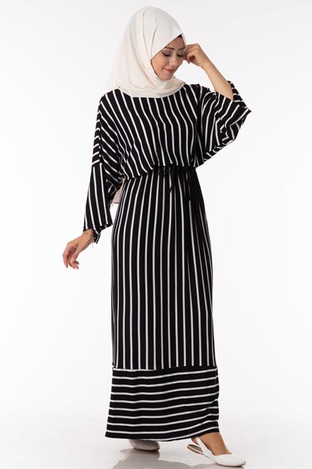Siyah Çizgili Bağcıklı Tesettür Elbise