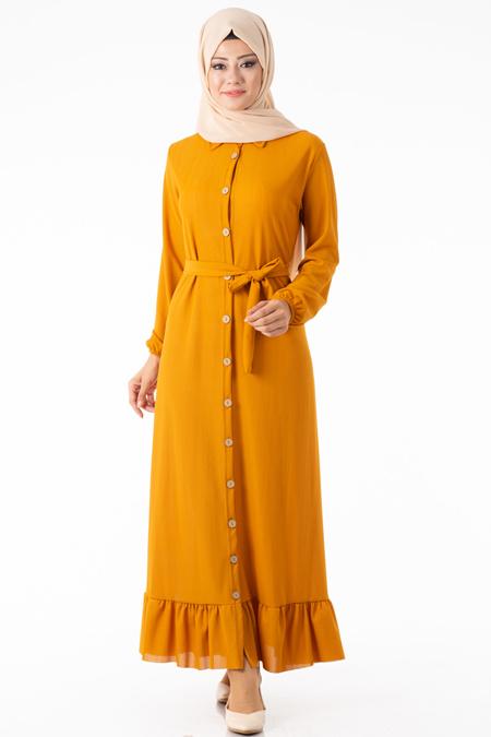 Kuşaklı Hardal Düğmeli Elbise