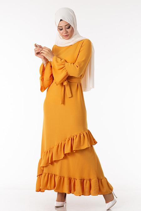 Volan Kol Fırfırlı Hardal Elbise