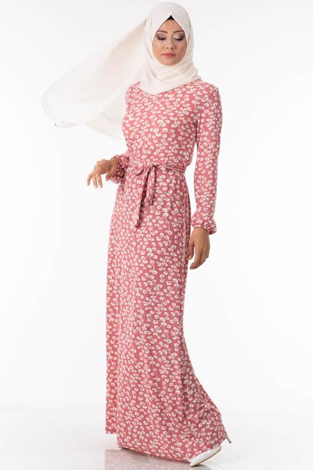 Yaprak Desen Pudra Tesettür Elbise