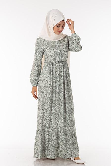 Yeşil Papatya Desen Elbise